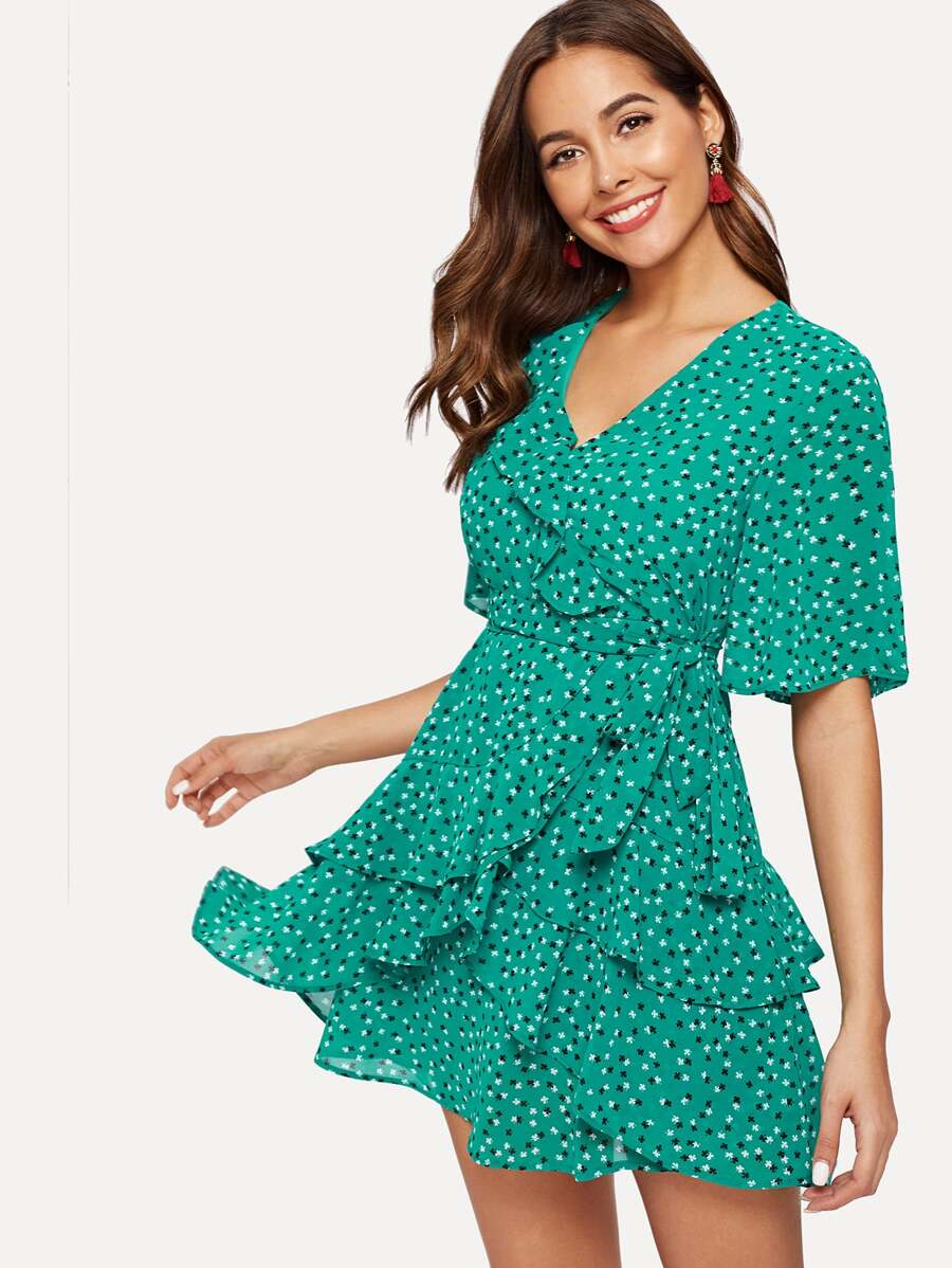Calico Print Ruffle Trim Wrap Chiffon Dress by Sheinside