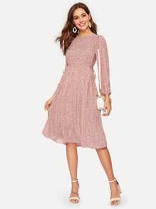 Button Back Tie Side Calico Dress