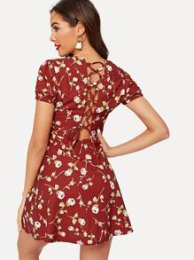 Allover Florals Lace-up Back Dress