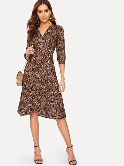 daa059e1cee Leopard Print Button Front Dress