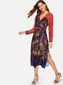 Scarf Print Split Side Wrap Dress
