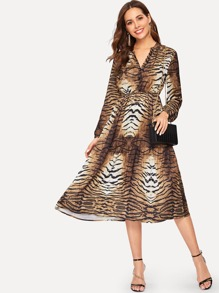 V-neck Tiger Print Dress