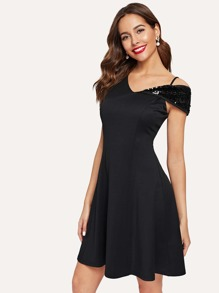 Asymmetric Neck Sequin Panel Skater Dress