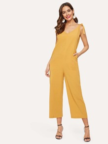 Knot Detail Solid Cami Jumpsuit