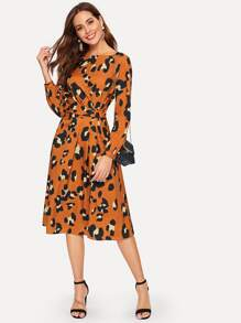 Ruched Detail Split Side Leopard Dress