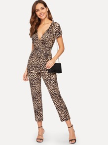 Self Tie Leopard Print Surplice Jumpsuit