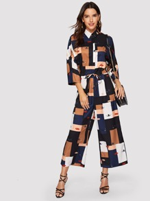 Lips & Eyes Print Patchwork Drawstring Jumpsuit