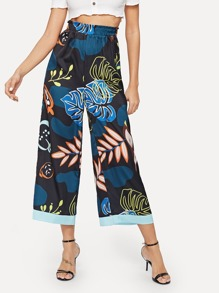 Wide Leg Palm Tree Print Pants