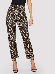 Self Tie Tiger Print Pants