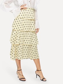 Layer Ruffle Polka Dot Skirt