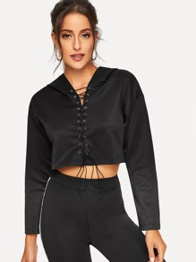 Lace-up Front Crop Hoodie