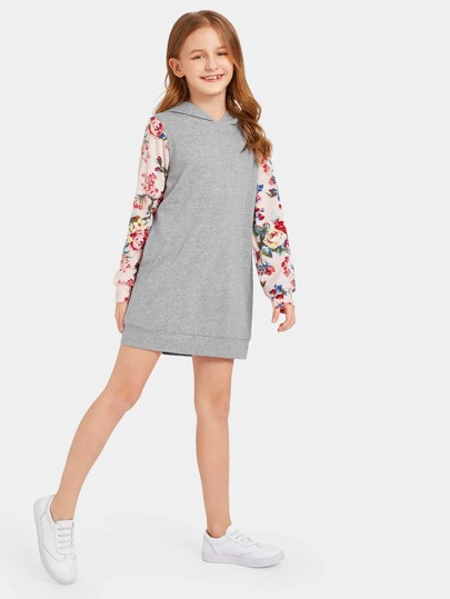 72a160f1501 Girls Floral Sleeve Heather Knit Hoodie Dress