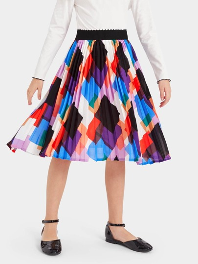 3ec412d2d Girls Scallop Elastic Waist Geo Print Skirt