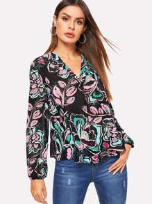 V-placket Abstract Floral Blouse