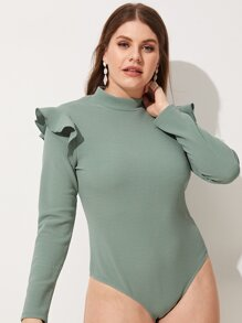 Plus Ruffle Detail Solid Bodysuit