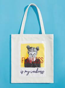 Slogan And Figure Print Tote Bag
