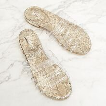 Snakeskin Pattern Clear Band Slippers