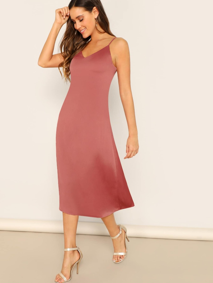 Criss Cross Backless Knotted Satin Slip Dress by Shein