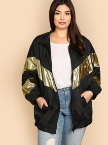 Plus Metallic Panel Pocket Side Jacket