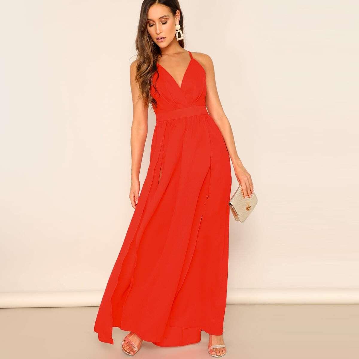 M-Slit Cross Back Neon Red Cami Prom Dress