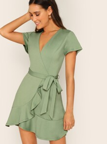 Surplice Neck Wrap Ruffle Hem Belted Dress