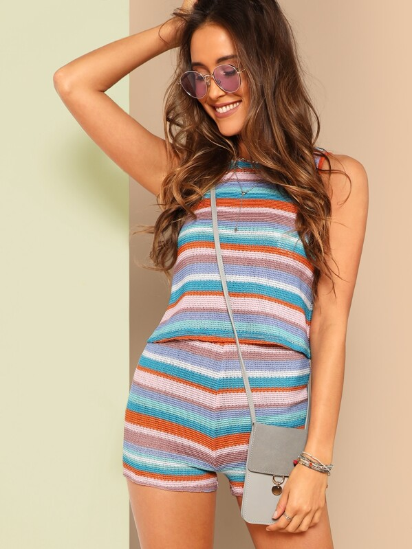 ed6eef5cef412 Colorful Striped Loose Knit Tank Top   Shorts Set