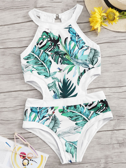 Jungle Leaf Cut-out One Piece Swimsuit