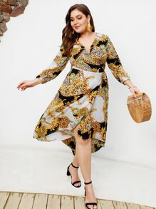 Plus Asymmetrical Hem Scarf Print Dress