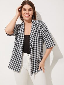 Plus Gingham Plaid Double Button Coat