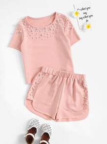 Girls Pearl Beading Top & Dolphin Shorts Set