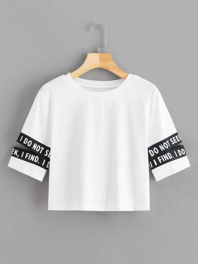 Contrast Letter Tape Cut Out Sleeve Crop Tee
