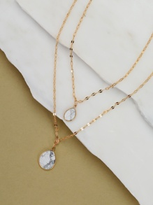 Dainty Chain Marble Teardrop Pendant Necklace Set
