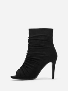 Ruched Detail Zipper Side Stiletto Heels