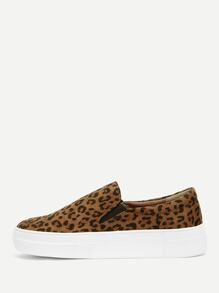 Leopard Pattern Slip On Sneakers