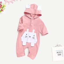 Baby Rabbit Pattern Popper Hooded Jumpsuit