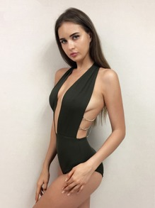 Joyfunear Chain Back Halter One Piece Swimsuit