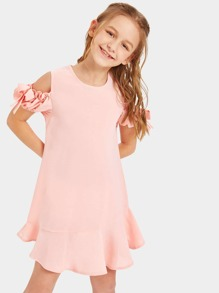 Girls Open Shoulder Flounce Hem Dress