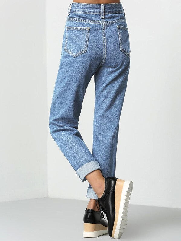 c6ba6d9ac0 Rolled Up Mom Jeans | SHEIN