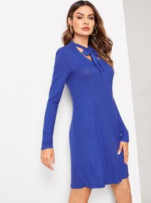 Tie Neck Ribbed Knit Trapeze Dress