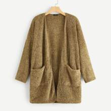 Image of Plus Pocket Patched Open Front Fuzzy Coat