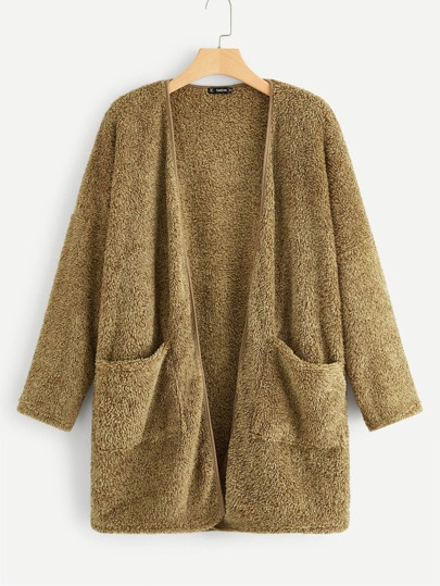 Plus Pocket Patched Open Front Fuzzy Coat
