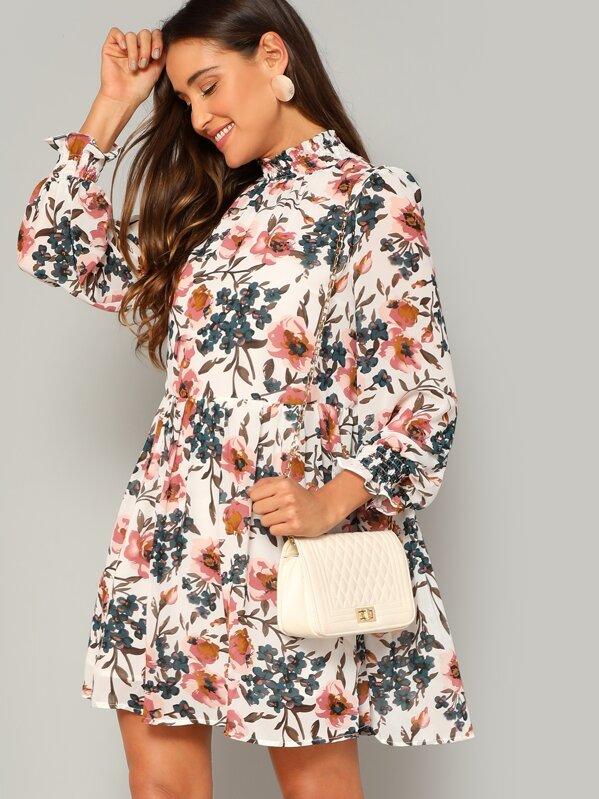 73542eb8f4 Shirred Trim Floral Smock Dress | SHEIN