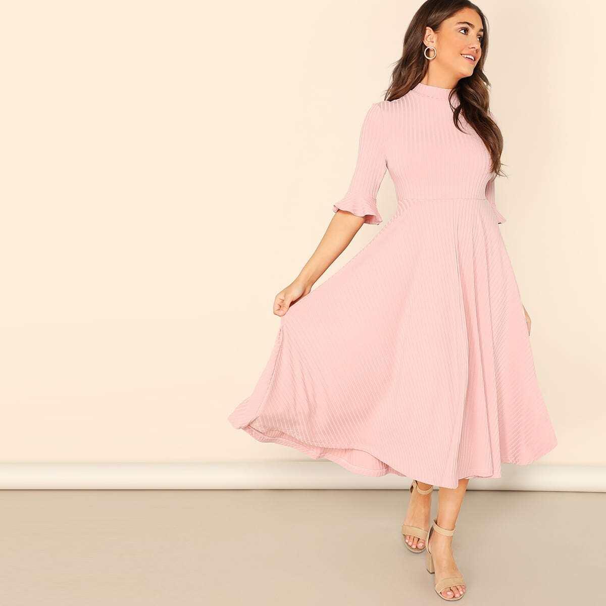 Трикотажное однотонное платье с вырезом под горло SheIn swdress07190102596