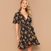 Surplice Wrap Belted Floral Tea Dress