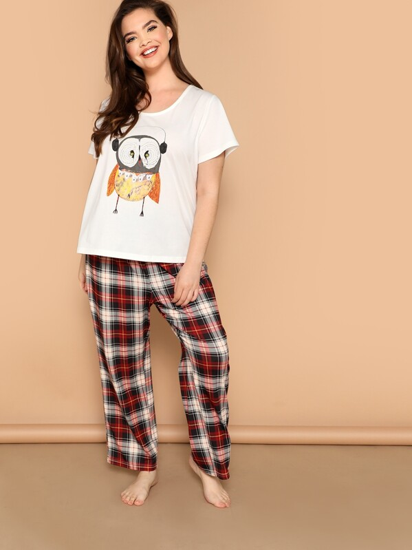 Shein Plus Owl Print Pullover Top & Plaid Pants Pj Set by Sheinside