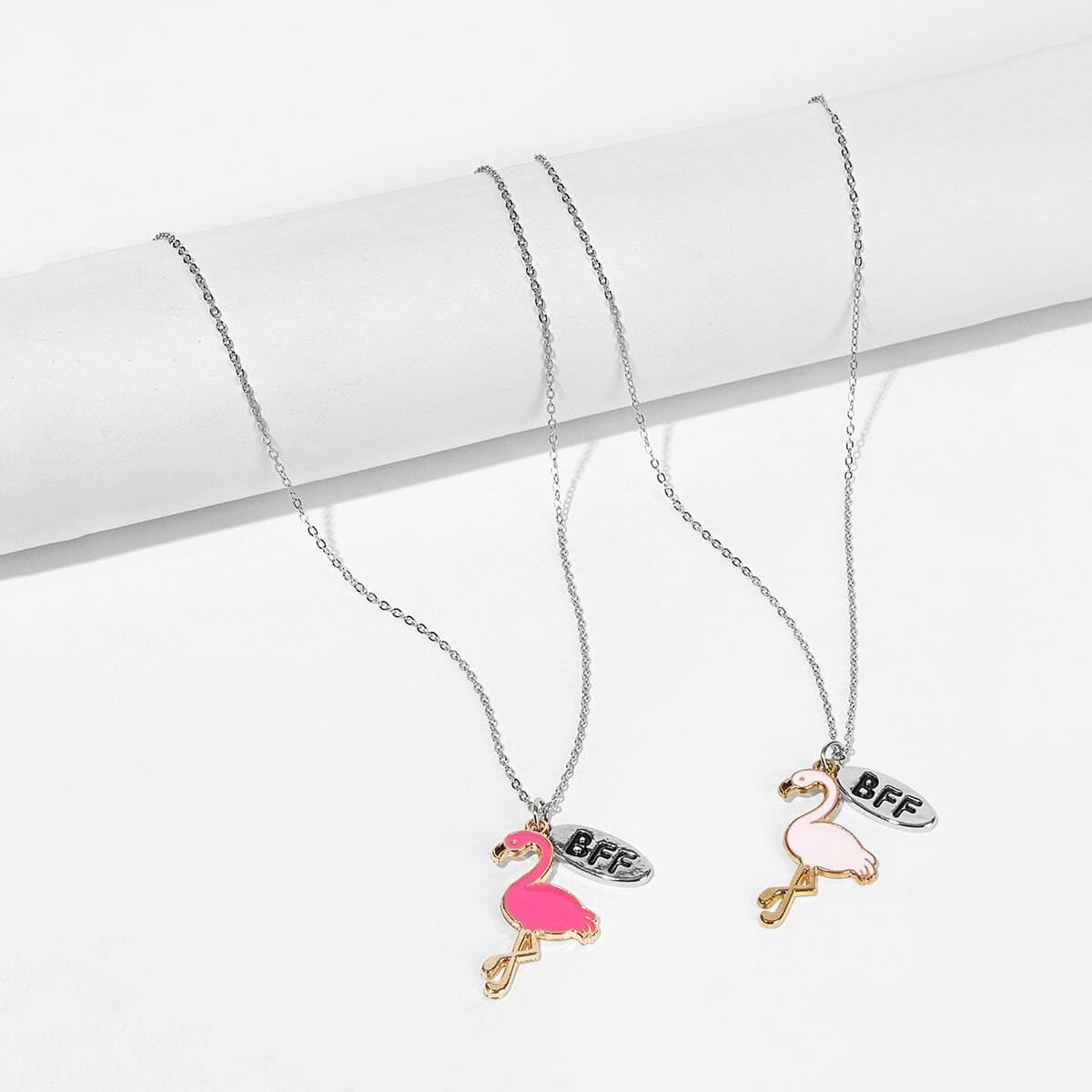 Mädchen Halskette Set mit Flamingo Anhänger 2PCs
