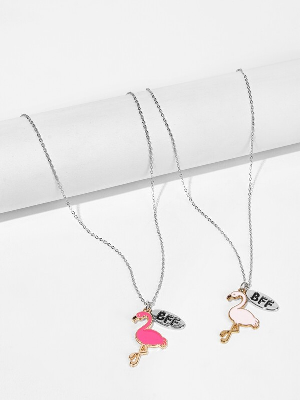 3f6abaae6e Girls Flamingo Pendant Necklace Set 2 PCs | SHEIN UK