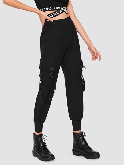 Letter Tape Buckle Detail Sweatpants
