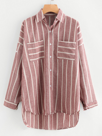Dip Hem Pocket Utility Striped Shirt