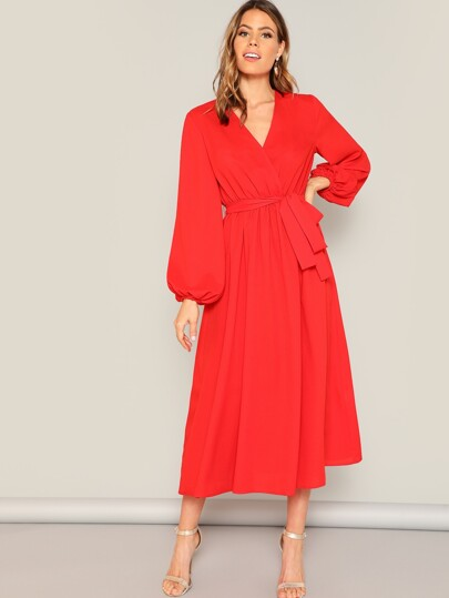 Lantern Sleeve Surplice Neck Wrap Belted Dress